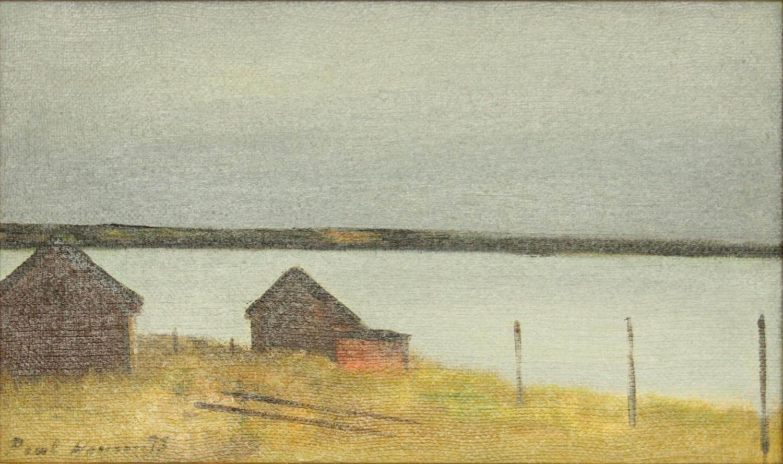 Poul Hansen (1918-87) Sheds on the Lake Shore, Denmark 1973