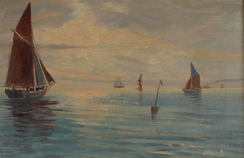 Christian Bennedsen (1893-1967) Evening Seascape with Boats, Denmark