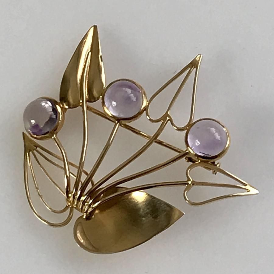 18K Gold Brooch with amethysts by Stigbert Sweden 1951