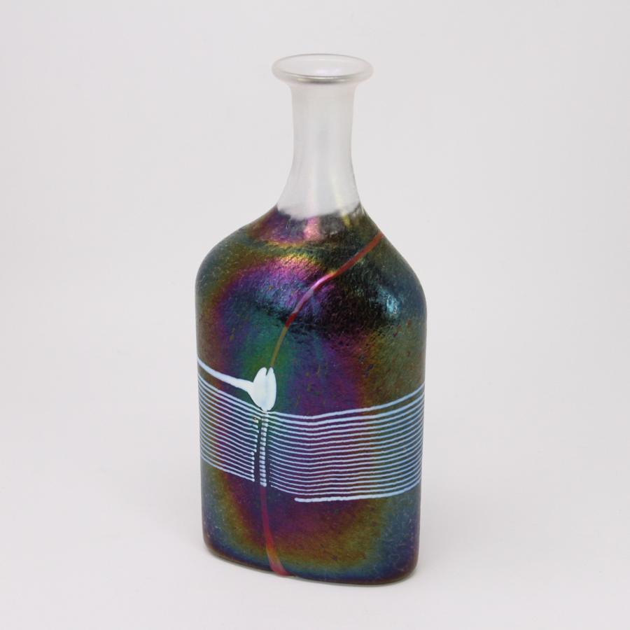 Bertil Vallien Atelier iridescent bottle vase Kosta Sweden 1980s