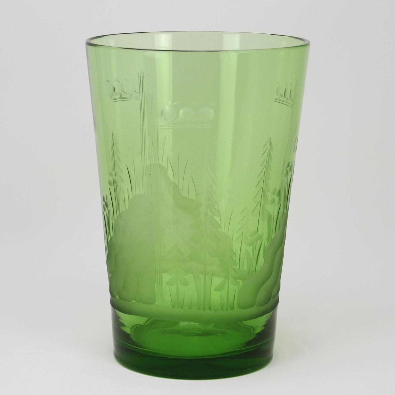 Karhula etched vase art deco Finland 1930s