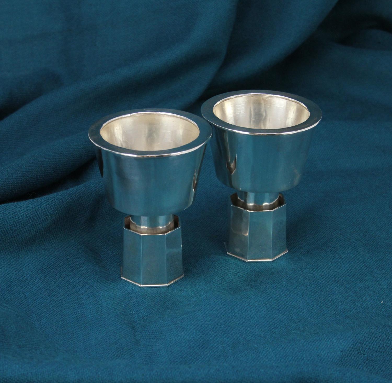 Pair Modernist Silver candleholders Broderna Lundqvist Sweden 1977