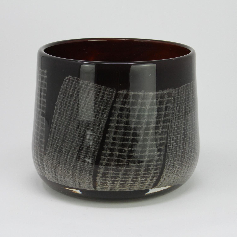 Humppila Glass bowl network pattern Pertti Santalahti Finland 1970s