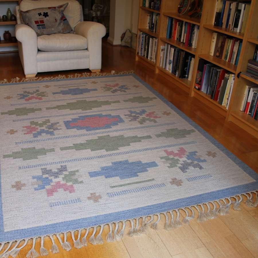 Anna-Johanna Ångström Röllakan Flat Weave Woollen Rug Sweden 1960s