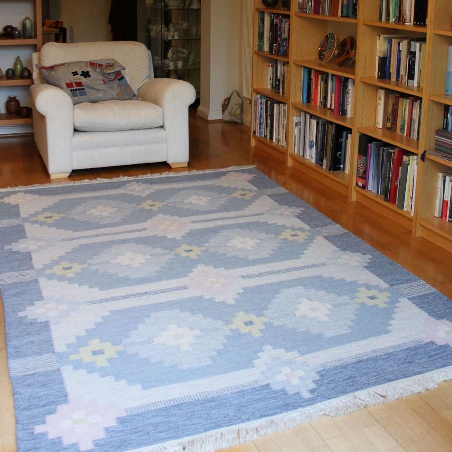 Swedish Röllakan flat weave woollen rug 1960s