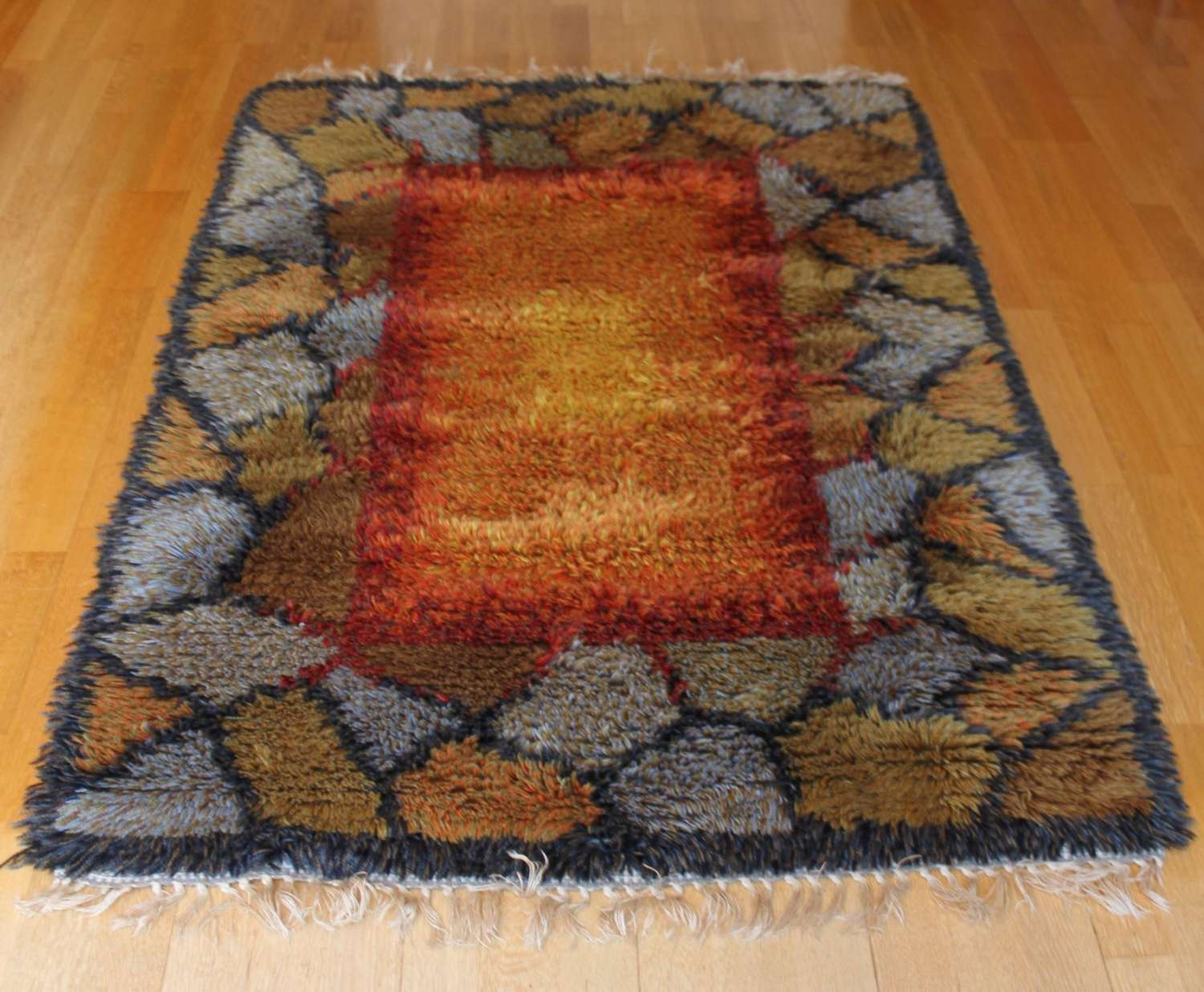 Rya woollen rug Sweden 1970s Crazy paving design