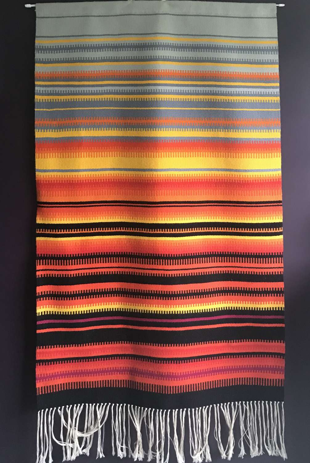 Swedish handwoven woollen wall hanging 1970s