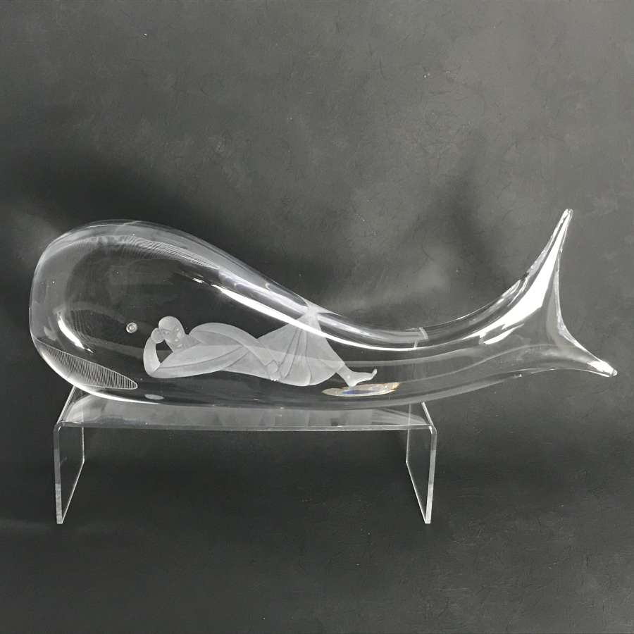Vicke Lindstrand Jonah and the Whale Sculpture Kosta Sweden 1960s