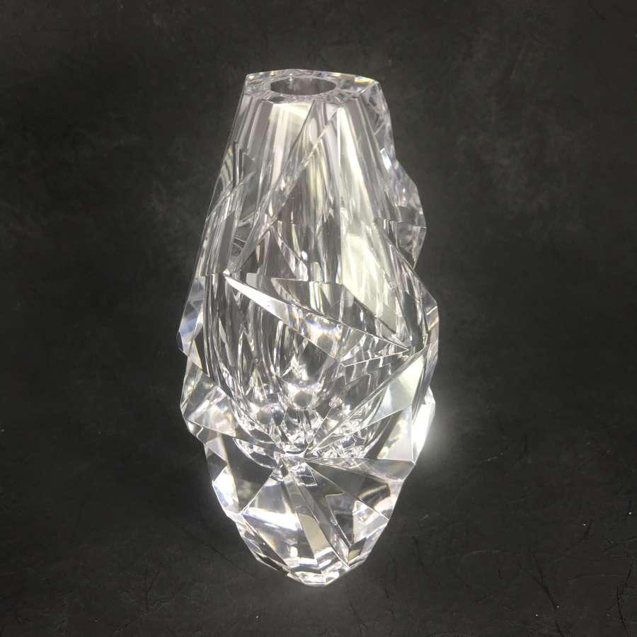 Vicke Lindstrand Cut Glass Vase Kosta, Sweden 1960s