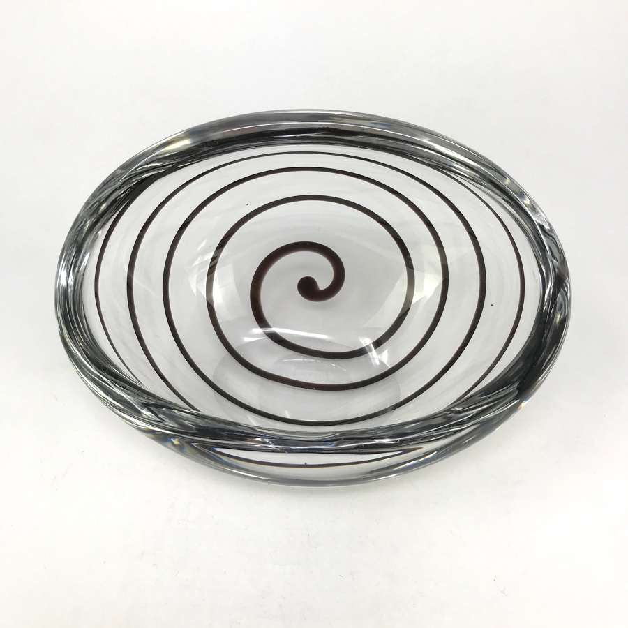 Vicke Lindstrand Tilted Bowl With Black Swirl, Kosta c.1960s