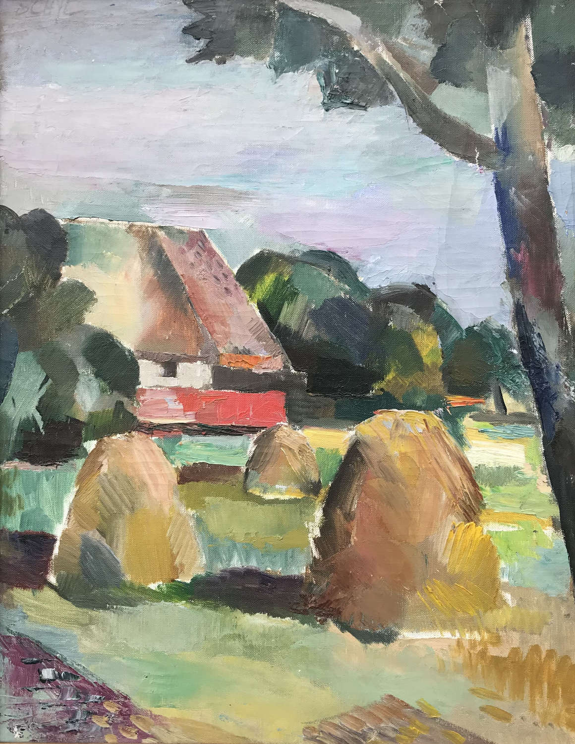 Jules Schyl pastoral scene, oil on canvas c1940s