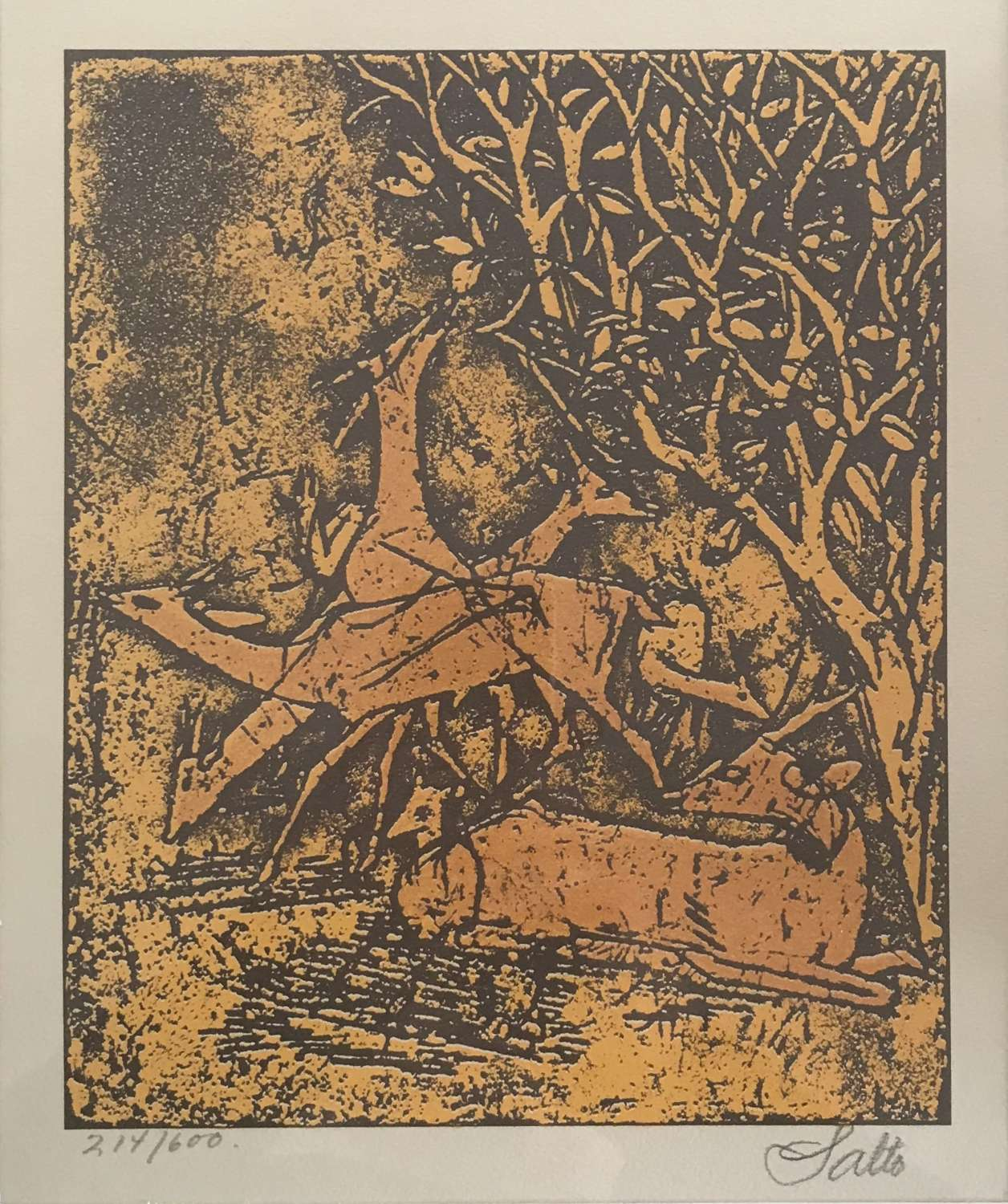 Axel Salto lithograph of deer in forest