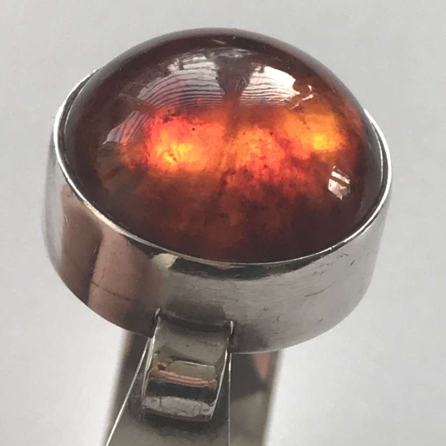 Niels Erik From bangle/ arm ring with amber cabochon, Denmark 1960-70s