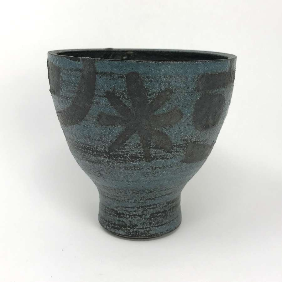 Jaap Dommisse Blue and Black Glazed Pot Dutch 1970s