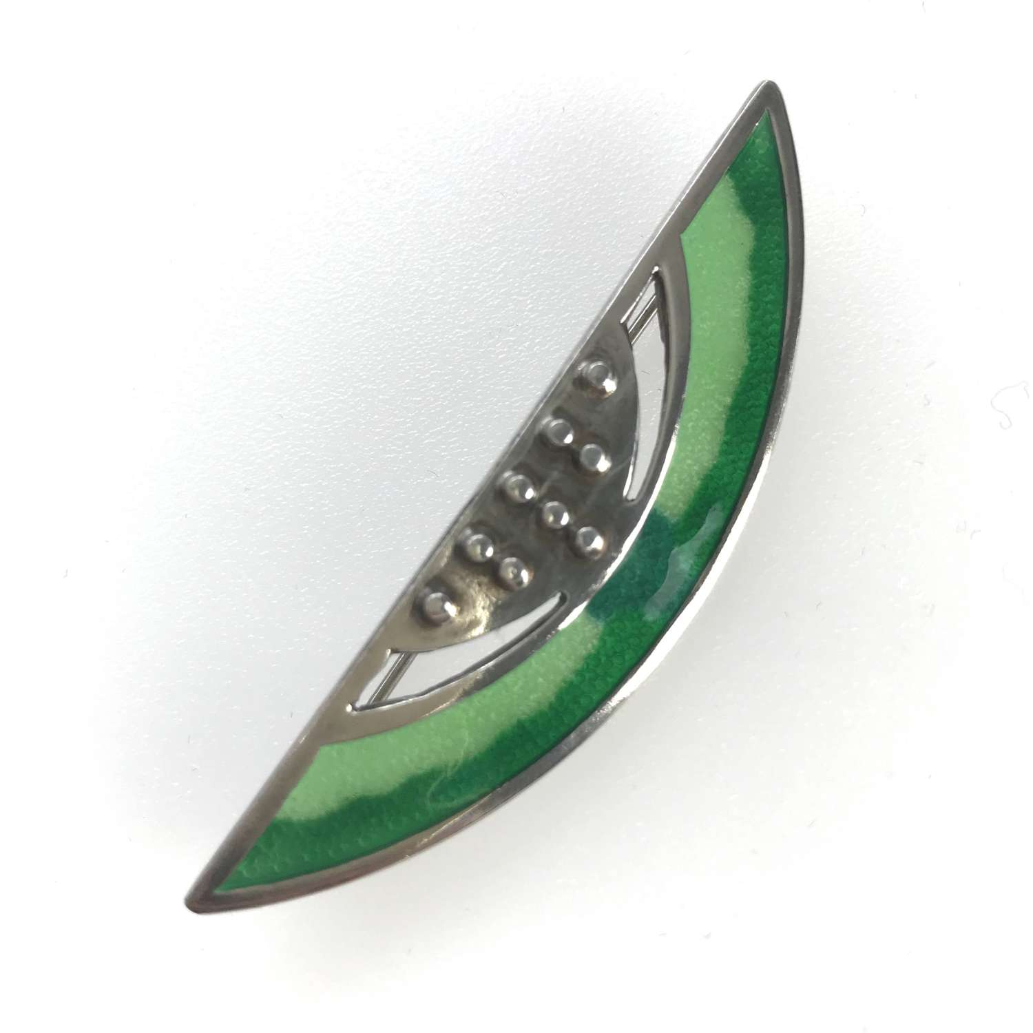 Green enamel and silver brooch by Embla, Norway 1960s-70s