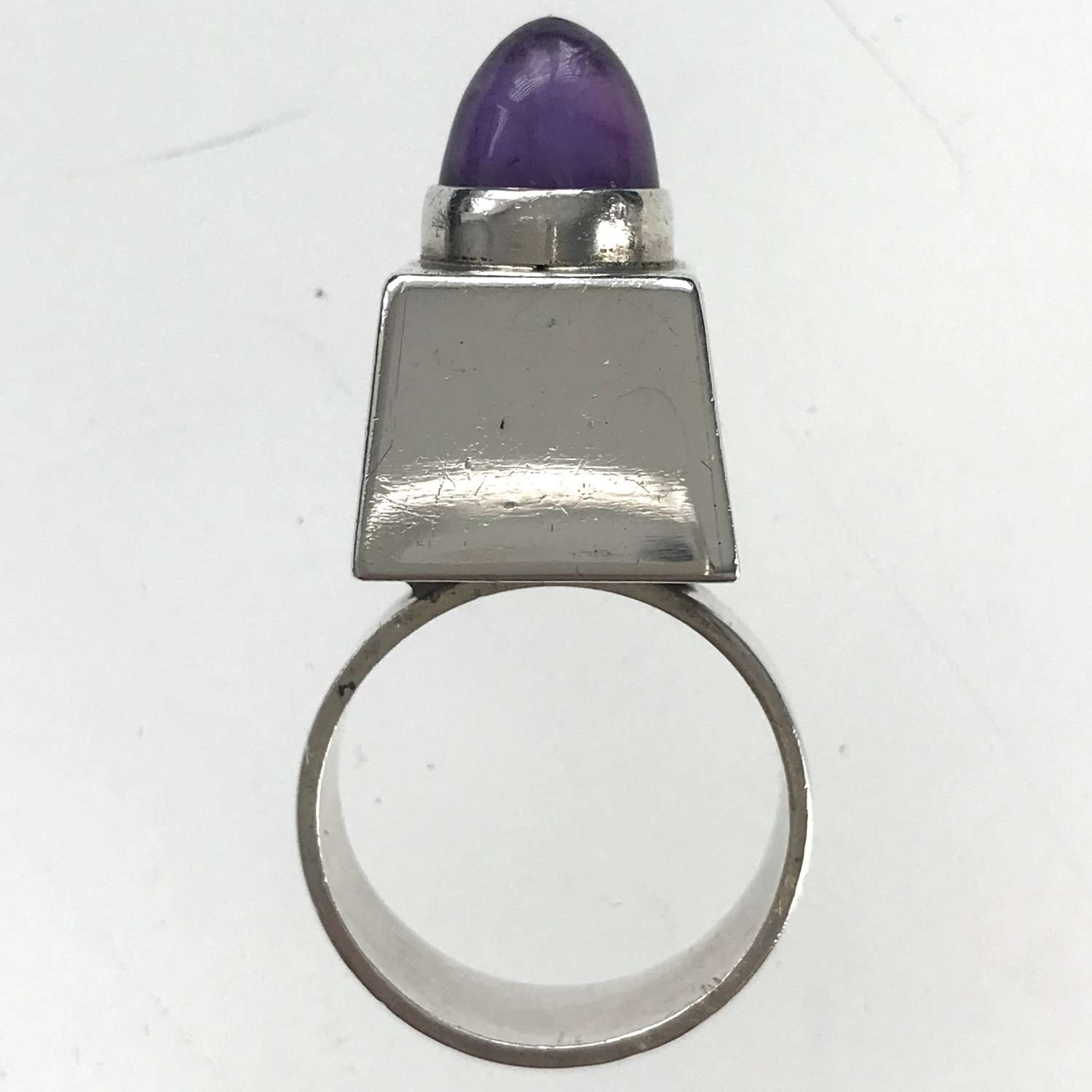 Niels Erik From silver ring with amethyst cabochon, Denmark 1960s-70s