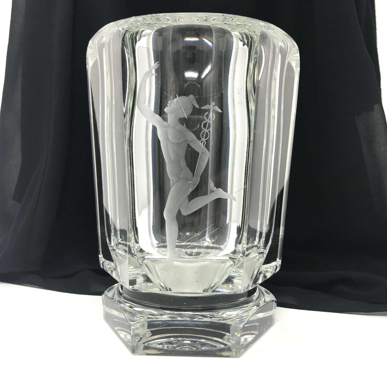 Elis Bergh Etched Glass Vase