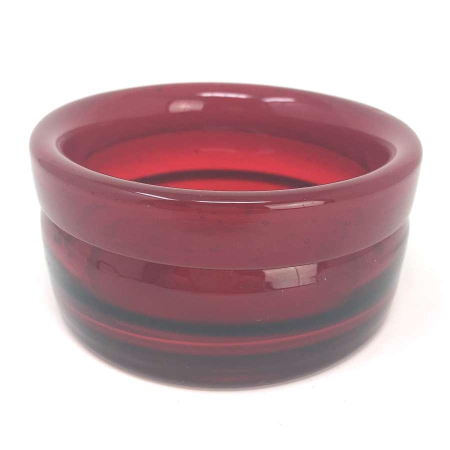 Erik Hoglund Red Glass Bowl Boda Sweden 1960s