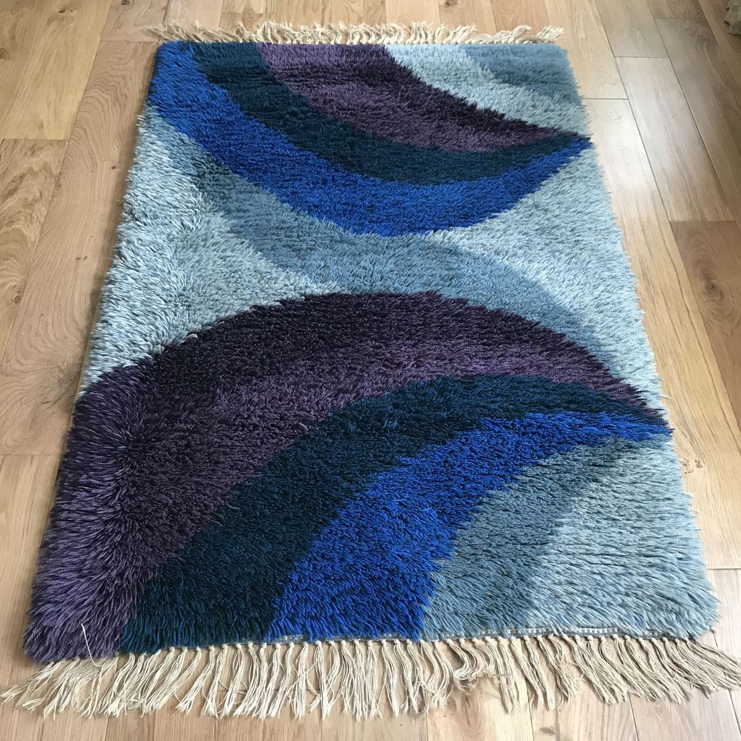 Swedish rya rug, blue and purple, c 1970s