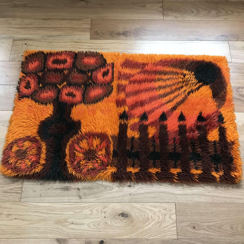 Swedish rya rug, orange, c 1970s