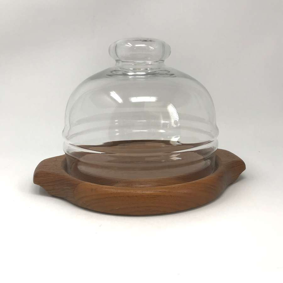 Cheese Dish Glass and Teak Digsmed Denmark 1970s