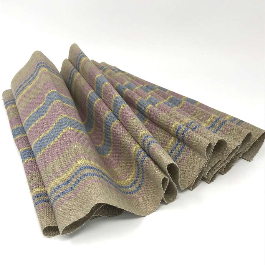 Swedish Handwoven Linen Table Runner Taupe with Stripes