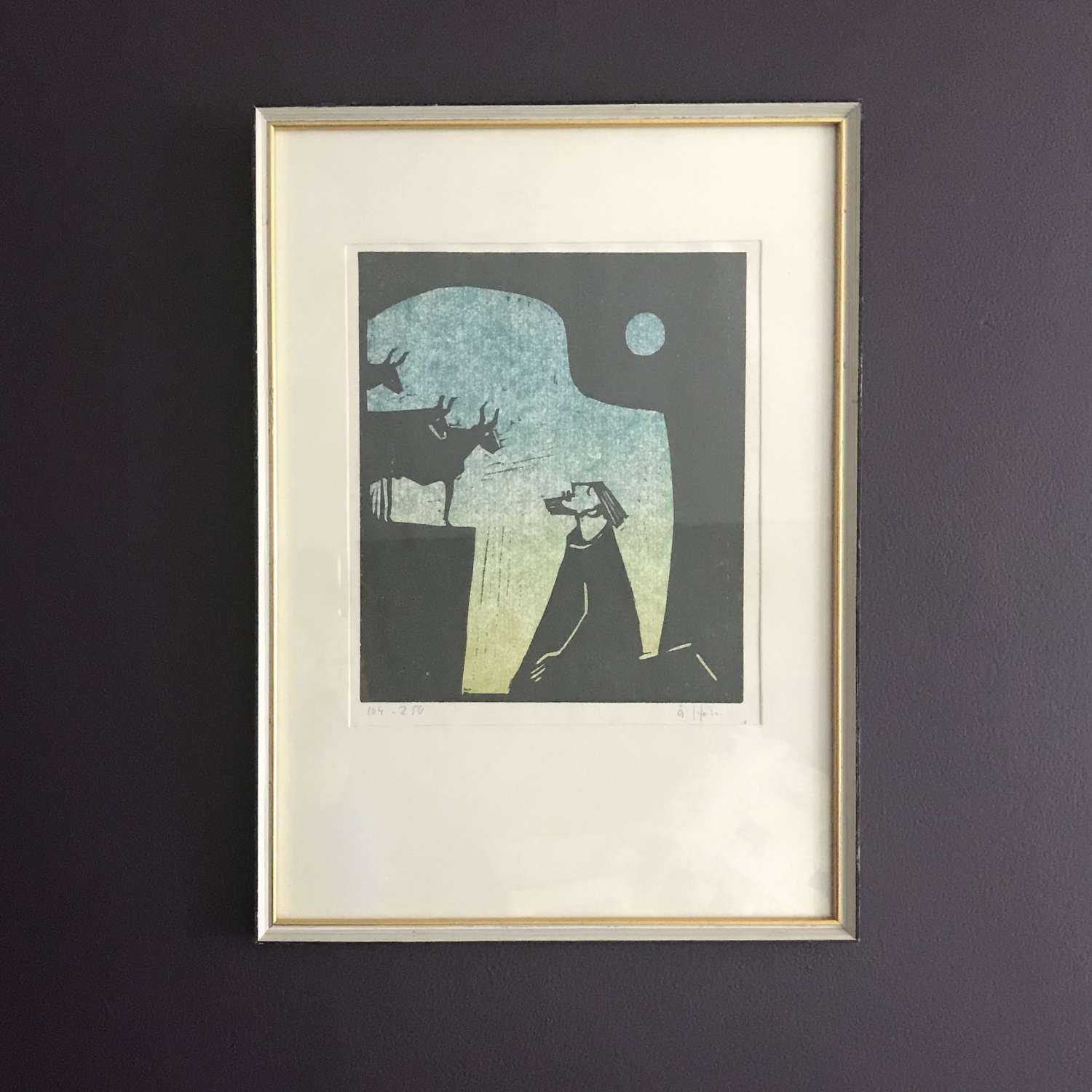 Åke Holm Numbered Linocut Print Sweden 1960s Framed