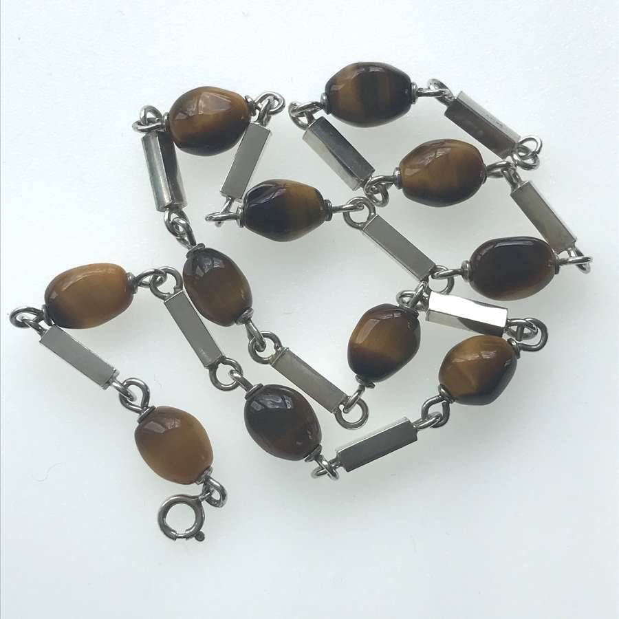 Tigers eye and silver bead necklace by Heribert Englebert Sweden 1970s