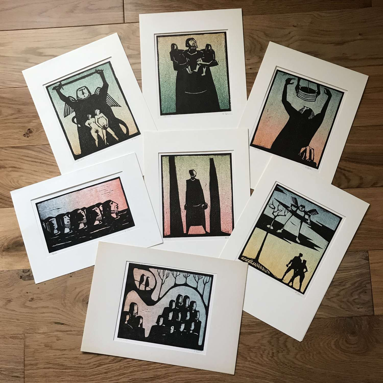 Åke Holm Limited Edition Linocut Prints Sweden 1960s-70s