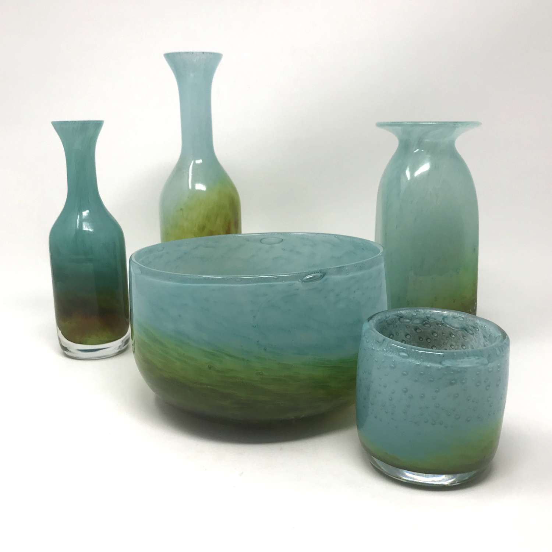 John Orwar Lake Ekenas Glass Five Pieces Sweden 1950s