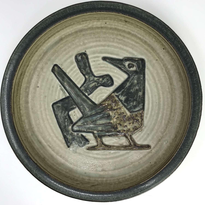 Jorgen Mogensen Large Bowl with Bird Royal Copenhagen Denmark 1960s