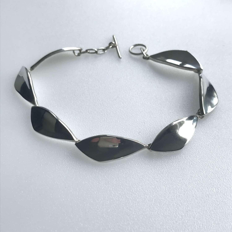 Henning Ulrichsen handmade silver bracelet/ anklet, Denmark c1960s