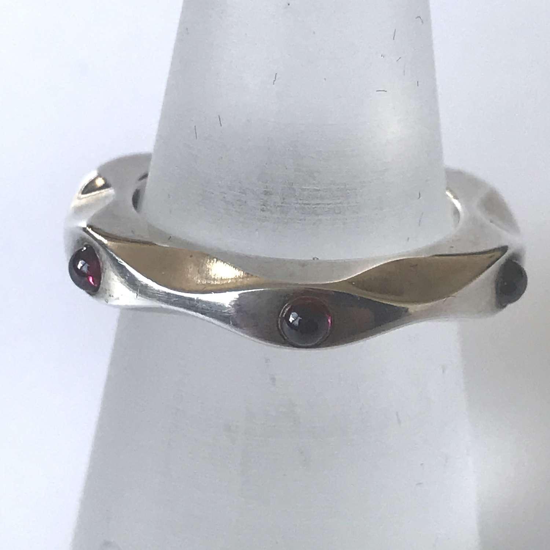 Georg Jensen mirror ring with garnets, by Maria Berntsen, 2000s