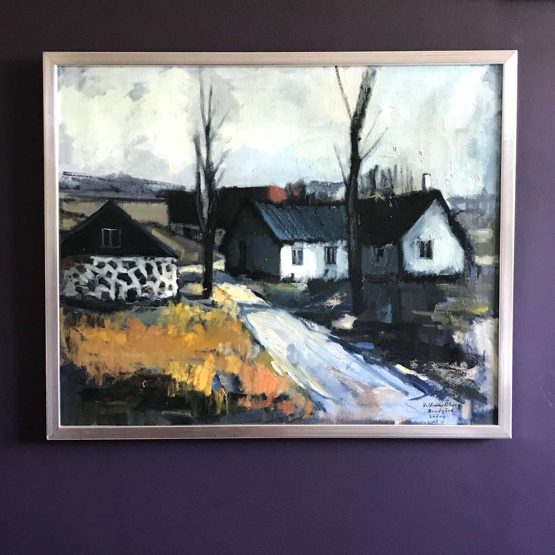 Valdemar Oberg, Farmhouse, Sweden, Oil on Canvas