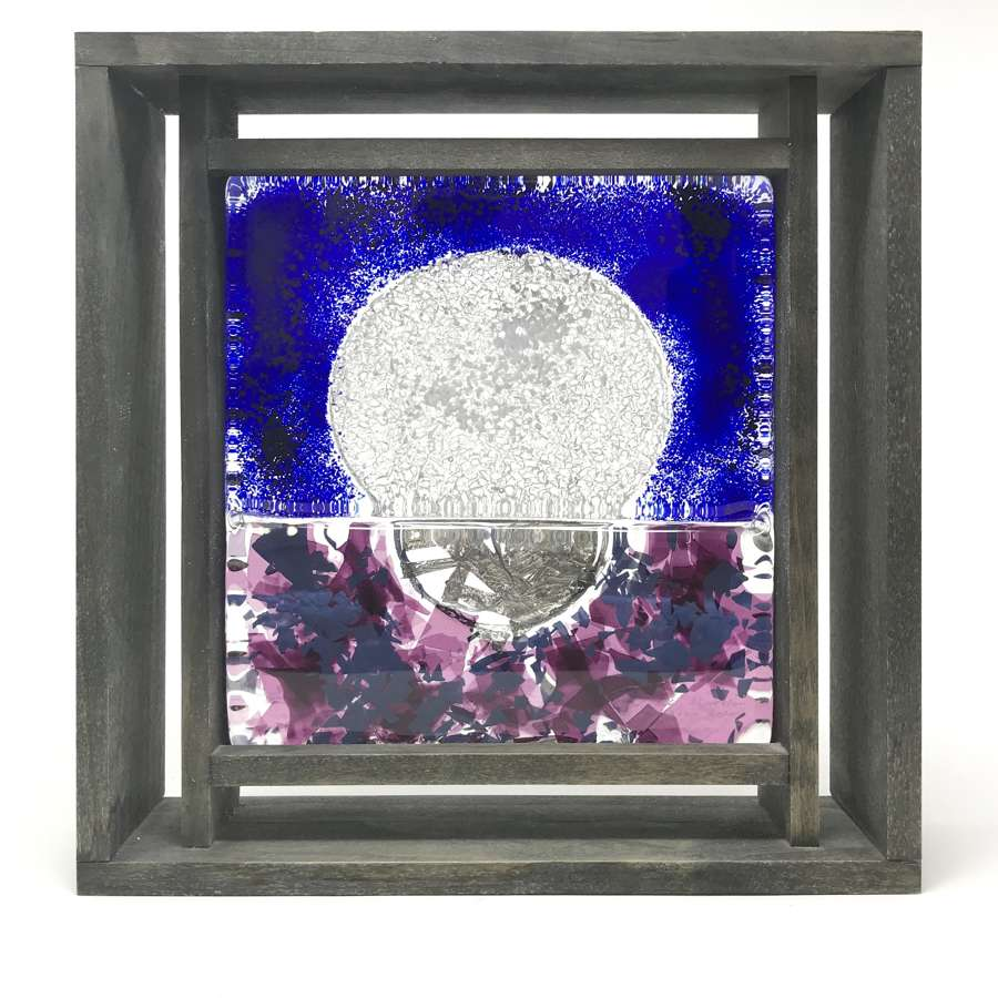 Monica Backstrom Frozen Image Moon Glass Sculpture in Frame Kosta