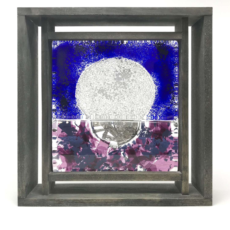 Monica Backstrom Frozen Image Moon Glass Sculpture in Frame Kosta