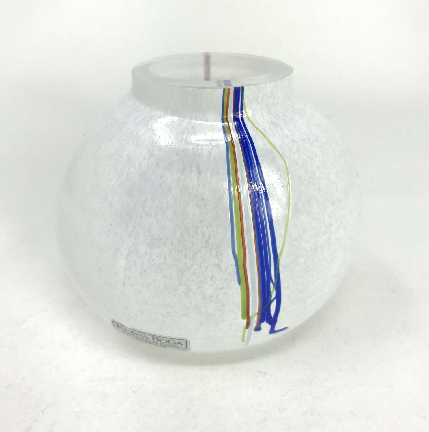 Bertil Vallien small Rainbow vase for Kosta, Sweden 1980s