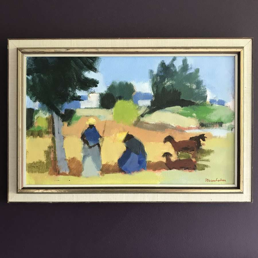 Stig Wernheden 'Women in the fields, Ibiza' oil on canvas c1950s