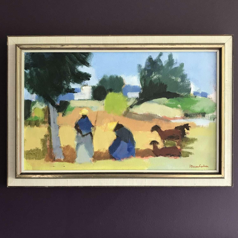 Stig Wernheden 'Women in the fields, Ibiza' oil on canvas c1950s