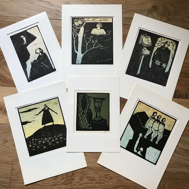 Åke Holm Limited Edition Linocut Prints Sweden 1960s-70s