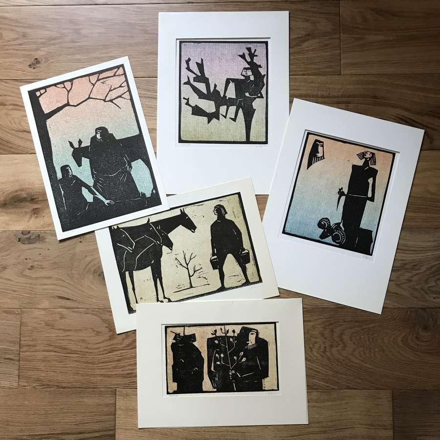 Åke Holm Limited Edition Linocut Prints Sweden 1960-70s