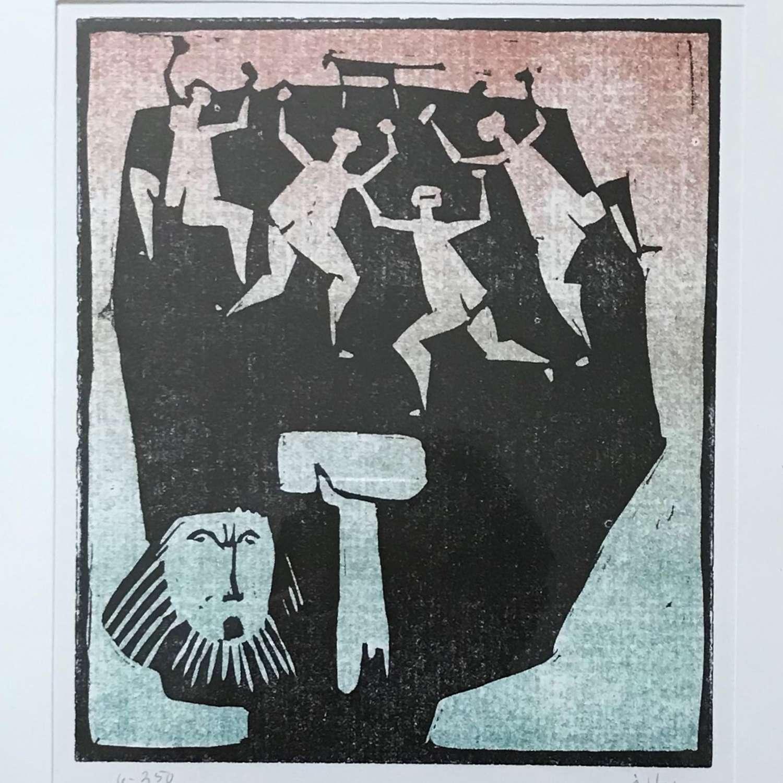 Åke Holm Limited Edition Framed  Linocut Print Sweden c1960-70s