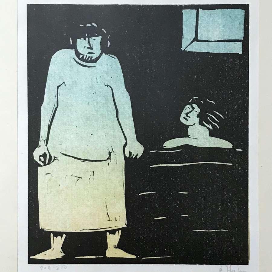 Åke Holm Limited Edition Linocut PrintSweden 1960-70s
