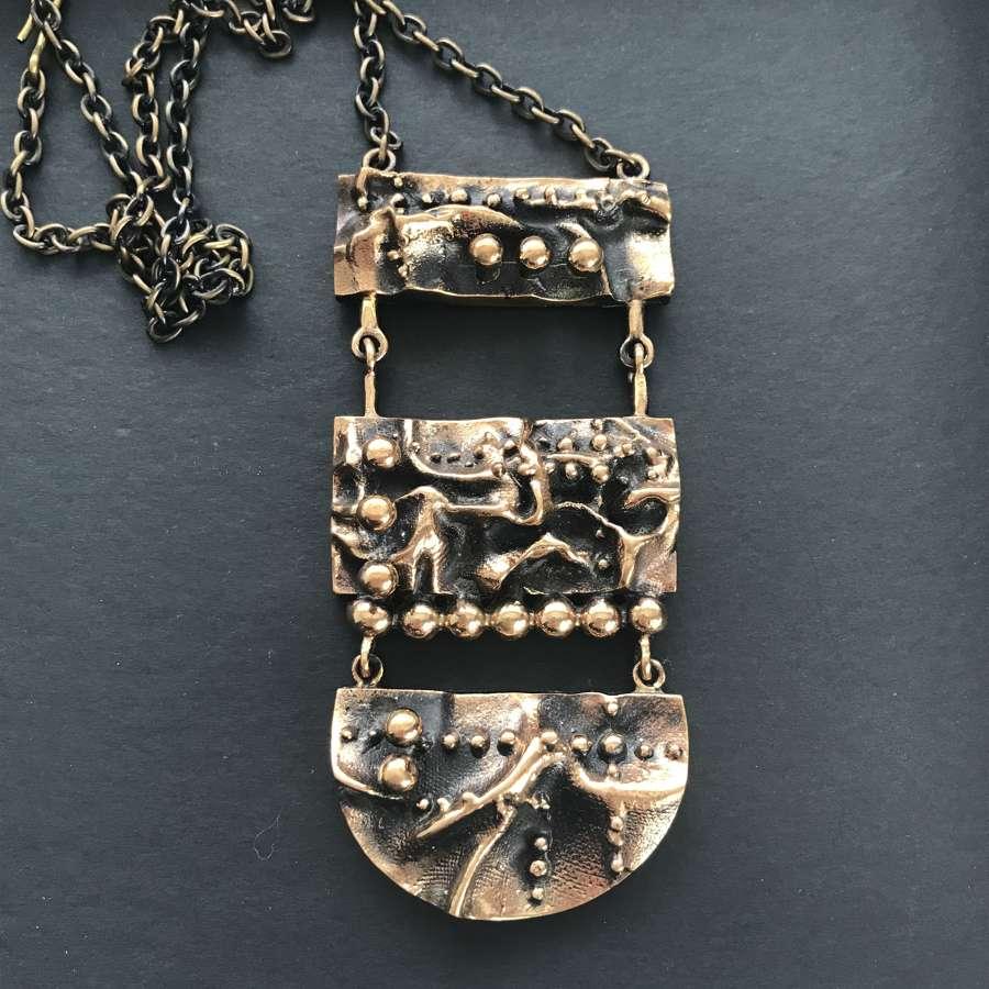 Pentti Sarpaneva bronze pendant and chain, Kalevala, Finland c1970s