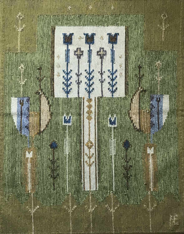 Éva Németh handwoven woollen tapestry, Hungary c1970s