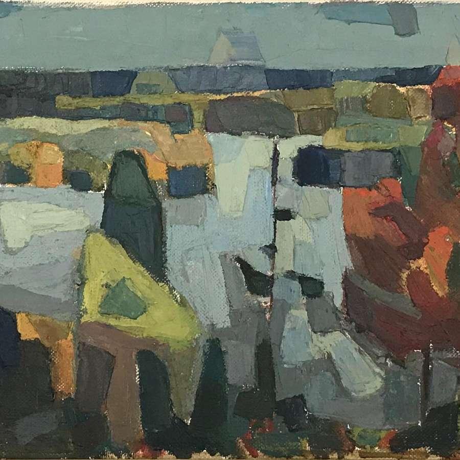 Calle Johannson Autumn Landscape in Rydaholm 1956
