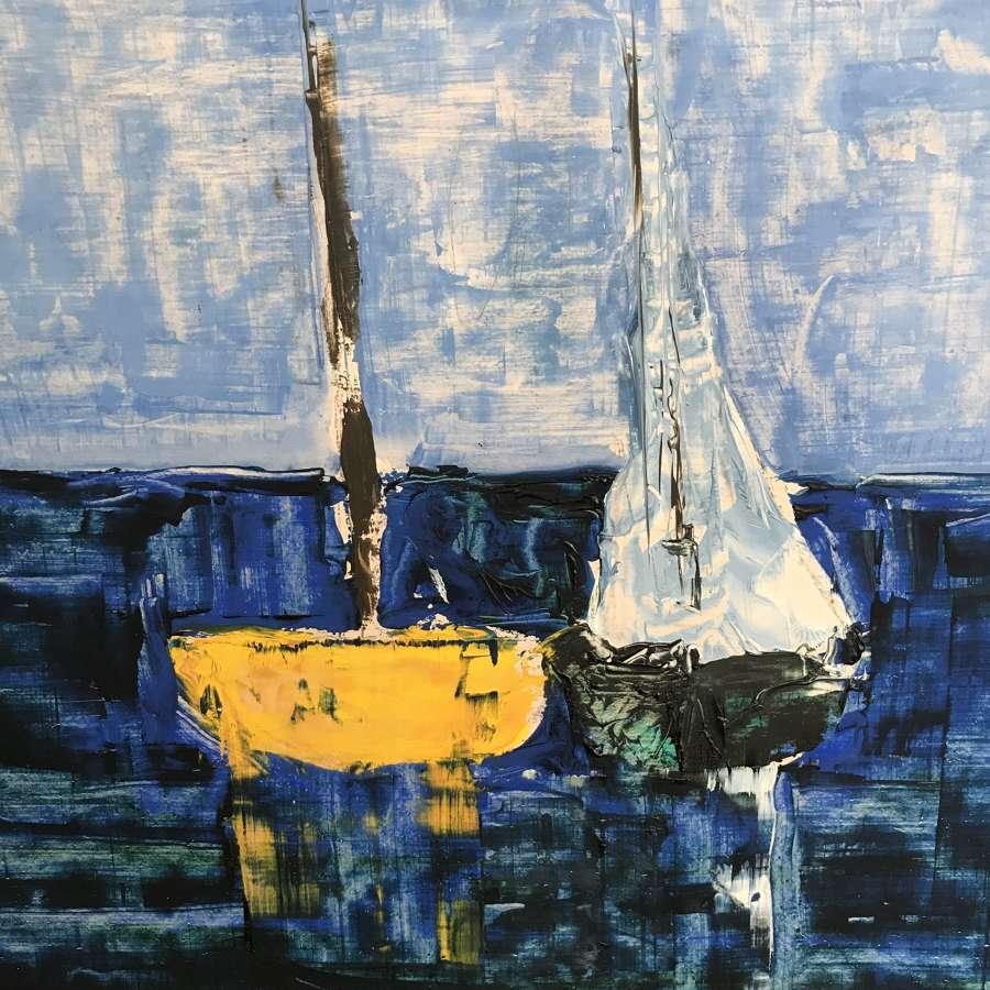 Harold Kraft Sailboats Oil on Panel Sweden c1970s
