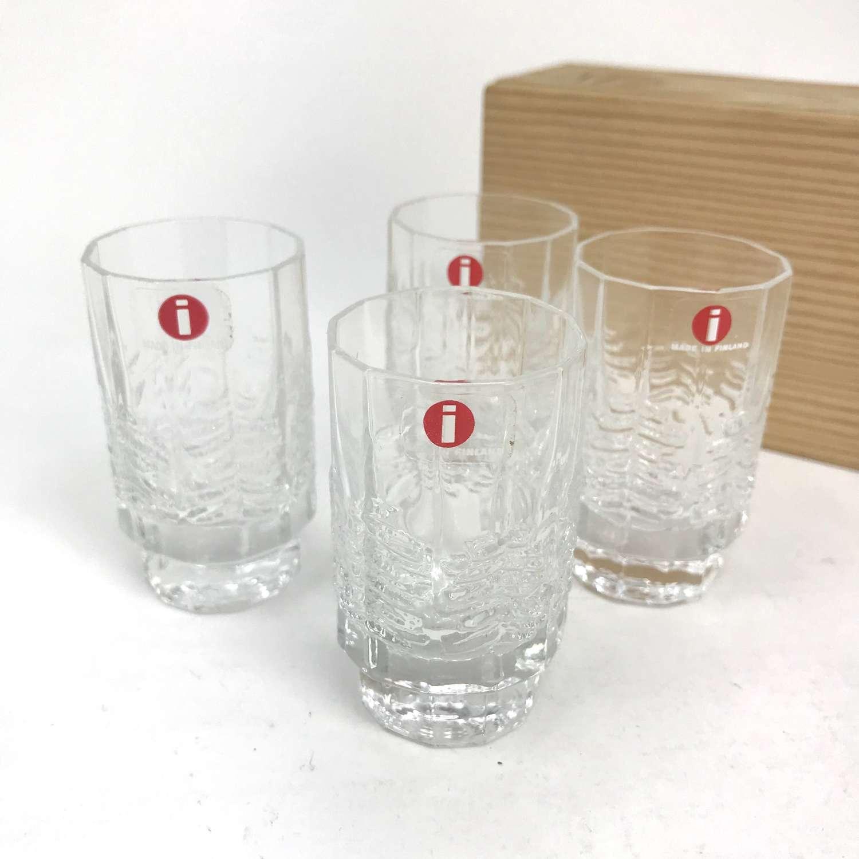 Jorma Vennola four Kuusi Shot glasses in box Iittala Finland 1980s