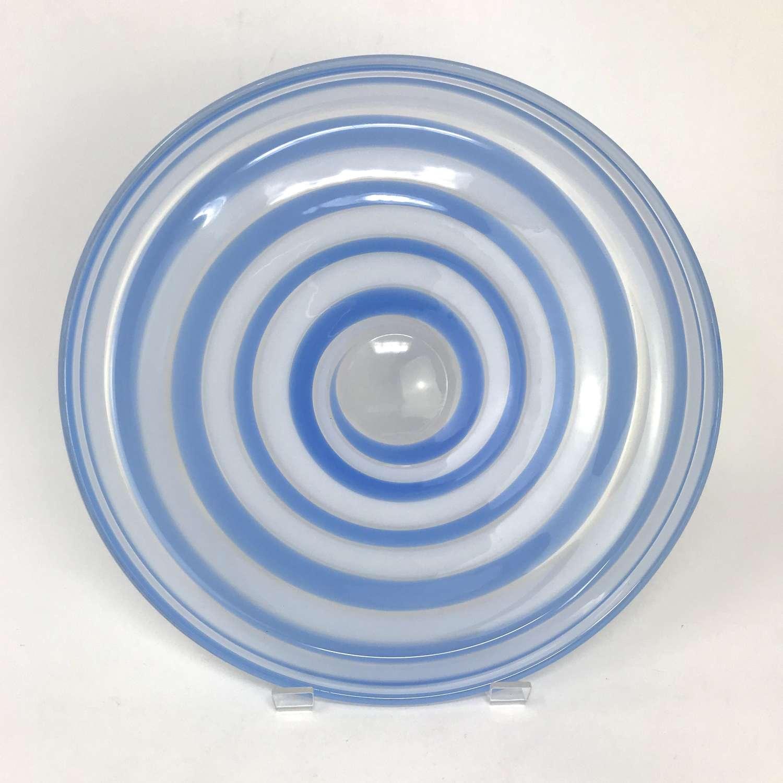 Ingeborg Lundin Blue swirl dish Orrefors Sweden 1960s