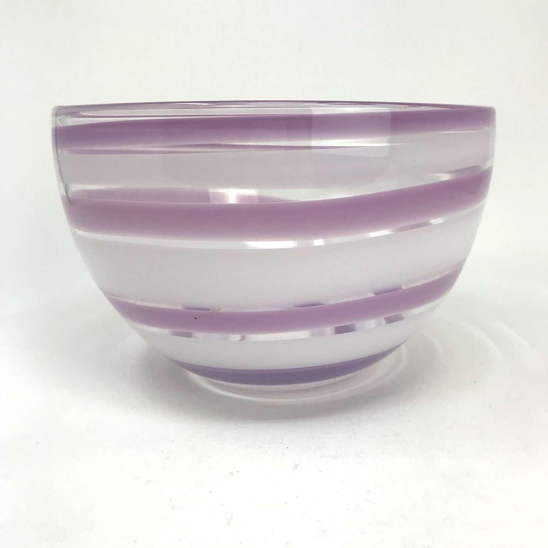 Ingeborg Lundin large purple swirl bowl, Orrefors Sweden 1960s